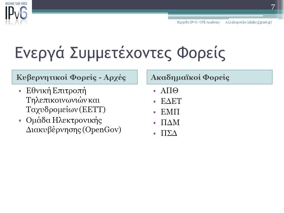 Ενεργά Συμμετέχοντες Φορείς Κυβερνητικοί Φορείς - ΑρχέςΑκαδημαϊκοί Φορείς Εθνική Επιτροπή Τηλεπικοινωνιών και Ταχυδρομείων (ΕΕΤΤ) Ομάδα Ηλεκτρονικής Δ