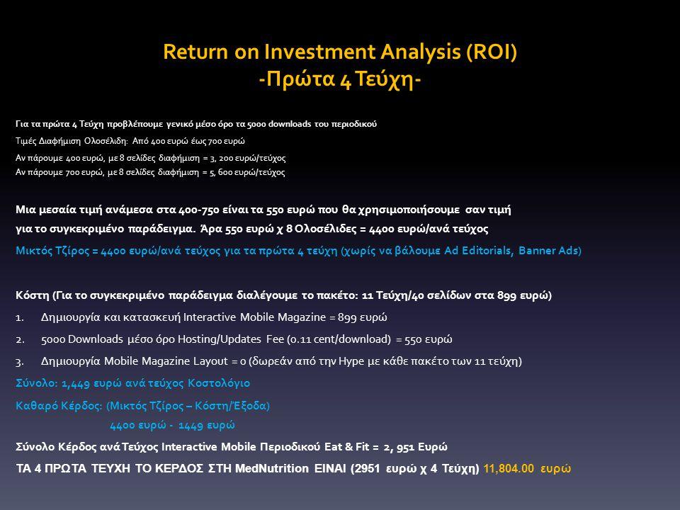 Return on Investment Analysis (ROI) -Πρώτα 4 Τεύχη- Για τα πρώτα 4 Τεύχη προβλέπουμε γενικό μέσο όρο τα 5000 downloads του περιοδικού Τιμές Διαφήμιση Ολοσέλιδη: Από 400 ευρώ έως 700 ευρώ Αν πάρουμε 400 ευρώ, με 8 σελίδες διαφήμιση = 3, 200 ευρώ/τεύχος Αν πάρουμε 700 ευρώ, με 8 σελίδες διαφήμιση = 5, 600 ευρώ/τεύχος Μια μεσαία τιμή ανάμεσα στα 400-750 είναι τα 550 ευρώ που θα χρησιμοποιήσουμε σαν τιμή για το συγκεκριμένο παράδειγμα.