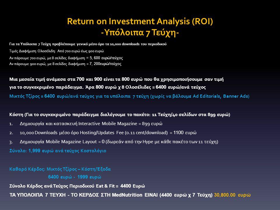 Return on Investment Analysis (ROI) -Υπόλοιπα 7 Τεύχη- Για τα Υπόλοιπα 7 Τεύχη προβλέπουμε γενικό μέσο όρο τα 10,000 downloads του περιοδικού Τιμές Διαφήμιση Ολοσέλιδη: Από 700 ευρώ έως 900 ευρώ Αν πάρουμε 700 ευρώ, με 8 σελίδες διαφήμιση = 5, 600 ευρώ/τεύχος Αν πάρουμε 900 ευρώ, με 8 σελίδες διαφήμιση = 7, 200ευρώ/τεύχος Μια μεσαία τιμή ανάμεσα στα 700 και 900 είναι τα 800 ευρώ που θα χρησιμοποιήσουμε σαν τιμή για το συγκεκριμένο παράδειγμα.
