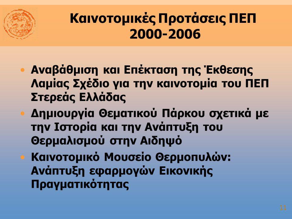11 Καινοτομικές Προτάσεις ΠΕΠ 2000-2006 Αναβάθμιση και Επέκταση της Έκθεσης Λαμίας Σχέδιο για την καινοτομία του ΠΕΠ Στερεάς Ελλάδας Δημιουργία Θεματικού Πάρκου σχετικά με την Ιστορία και την Ανάπτυξη του Θερμαλισμού στην Αιδηψό Καινοτομικό Μουσείο Θερμοπυλών: Ανάπτυξη εφαρμογών Εικονικής Πραγματικότητας