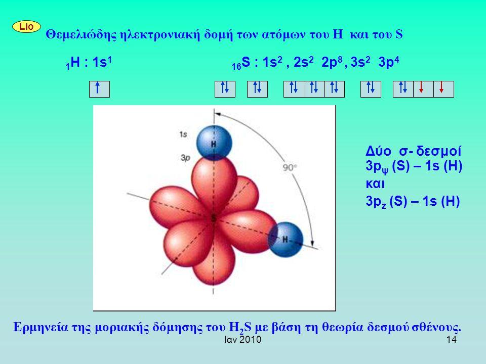 Ιαν 201014 Ερμηνεία της μοριακής δόμησης του H 2 S με βάση τη θεωρία δεσμού σθένους. Lio Θεμελιώδης ηλεκτρονιακή δομή των ατόμων του Η και του S 1 Η :
