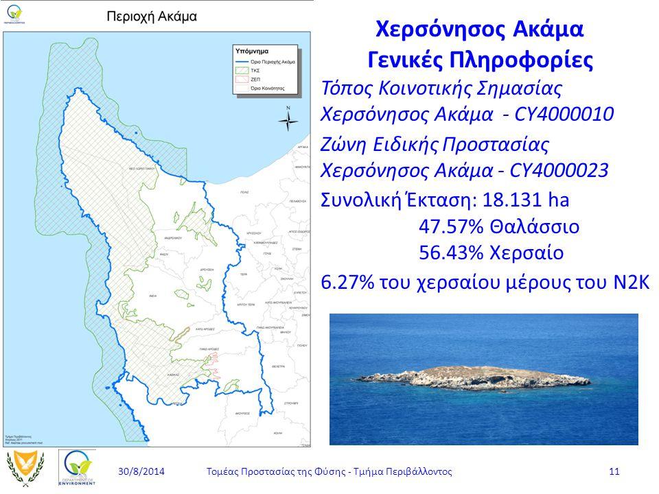 Χερσόνησος Ακάμα Γενικές Πληροφορίες Τόπος Κοινοτικής Σημασίας Χερσόνησος Ακάμα - CY4000010 Ζώνη Ειδικής Προστασίας Χερσόνησος Ακάμα - CY4000023 Συνολ