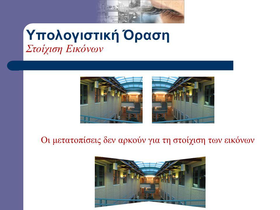 Μετατόπιση της δεξιάς πάνω στην αριστερή Μετατόπιση της αριστερής πάνω στην δεξιά Υπολογιστική Όραση Στοίχιση Εικόνων