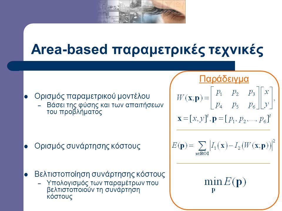 Παραμετρικές Τεχνικές Area-based (direct) τεχνικές – Αντιστοίχιση βασισμένη στην ένταση φωτεινότητας όλων των εικονοστοιχείων της ROI Απευθείας αναζήτηση παραμετρικού μοντέλου Featured-based τεχνικές – Αντιστοίχιση βασισμένη σε επιλεγμένα χαρακτηριστικά (γωνίες, ακμές) της ROI Χρήση τελεστή αναγνώρισης χαρακτηριστικών Αντιστοίχιση κοινών χαρακτηριστικών Χρήση παραμετρικού μοντέλου για τη συνολική αντιστοίχιση δοθείσης της αντιστοίχισης χαρακτηριστικών Παραμετρικό μοντέλο Αντιστοίχιση Παραμετρικό μοντέλο