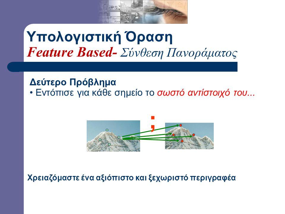 Πρώτο Πρόβλημα Εντόπισε το ίδιο σημείο ανεξάρτητα στις δύο εικόνες Δύσκολη αν όχι ακατόρθωτη η αντιστοίχιση...