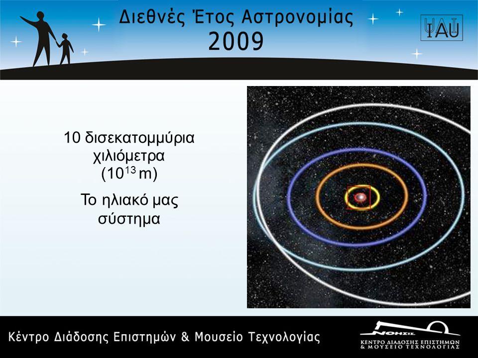 10 δισεκατομμύρια χιλιόμετρα (10 13 m) Το ηλιακό μας σύστημα