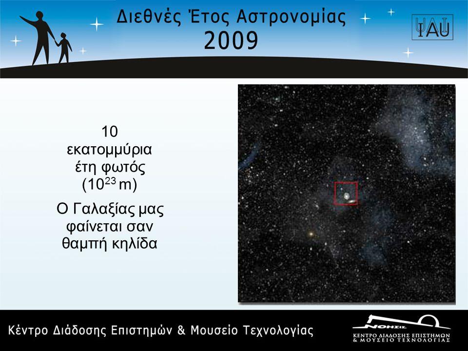10 εκατομμύρια έτη φωτός (10 23 m) Ο Γαλαξίας μας φαίνεται σαν θαμπή κηλίδα