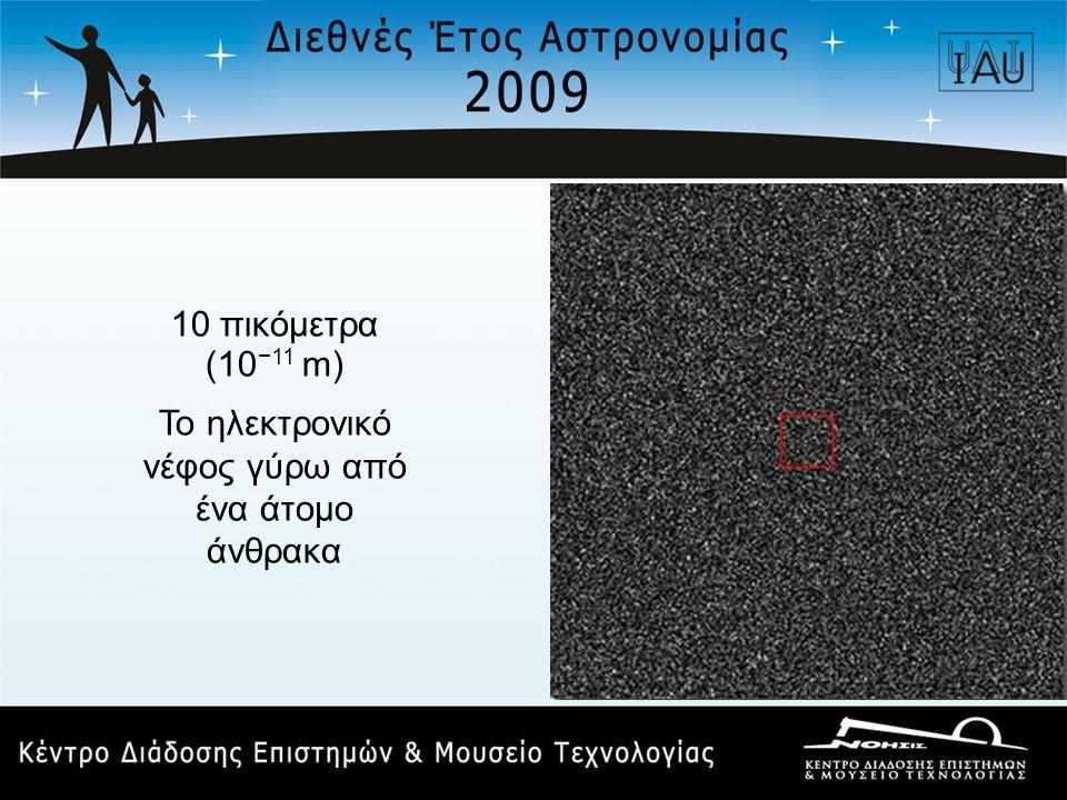 10 πικόμετρα (10 −11 m) Το ηλεκτρονικό νέφος γύρω από ένα άτομο άνθρακα