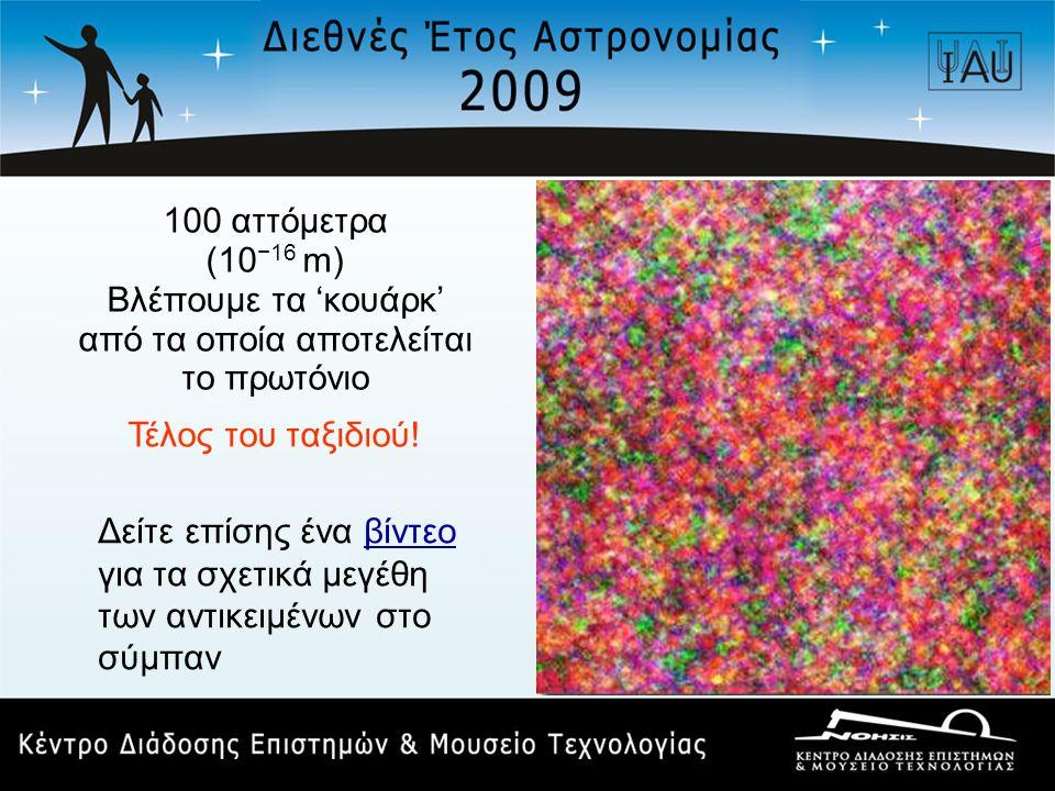 100 αττόμετρα (10 −16 m) Βλέπουμε τα 'κουάρκ' από τα οποία αποτελείται το πρωτόνιο Τέλος του ταξιδιού! Δείτε επίσης ένα βίντεοβίντεο για τα σχετικά με