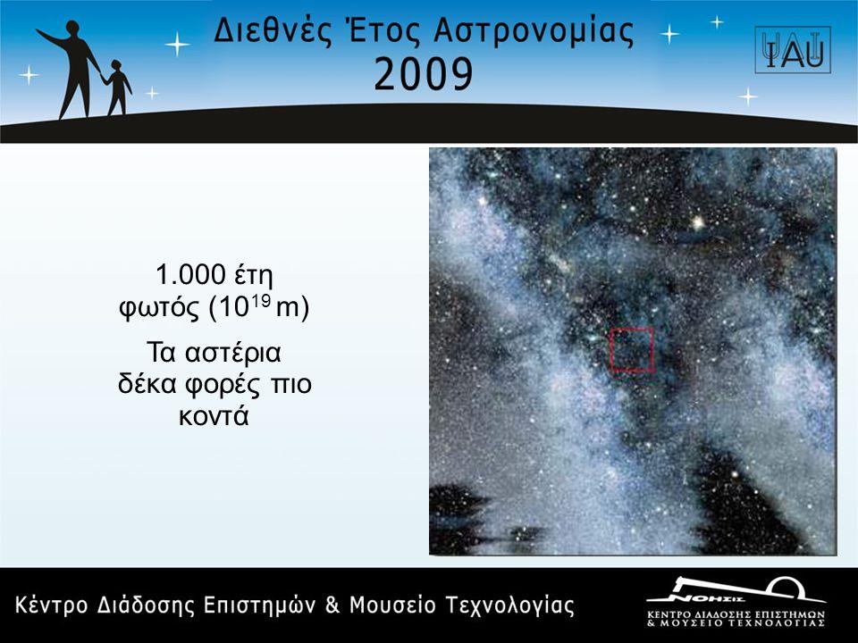 1.000 έτη φωτός (10 19 m) Τα αστέρια δέκα φορές πιο κοντά