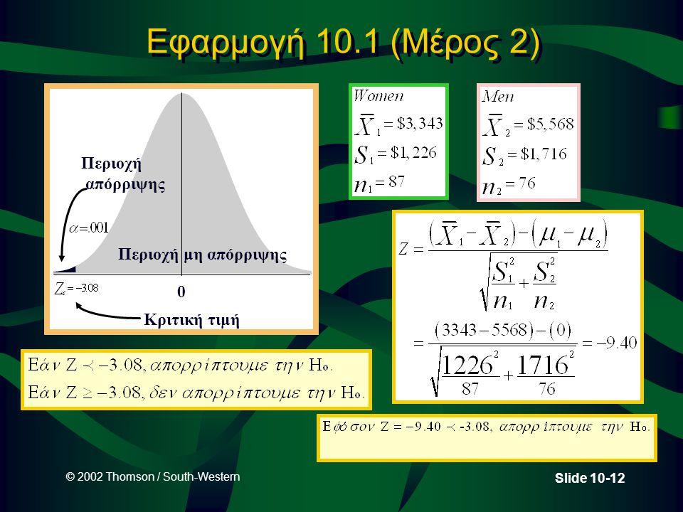 © 2002 Thomson / South-Western Slide 10-12 Εφαρμογή 10.1 (Μέρος 2) Περιοχή μη απόρριψης Κριτική τιμή Περιοχή απόρριψης 0
