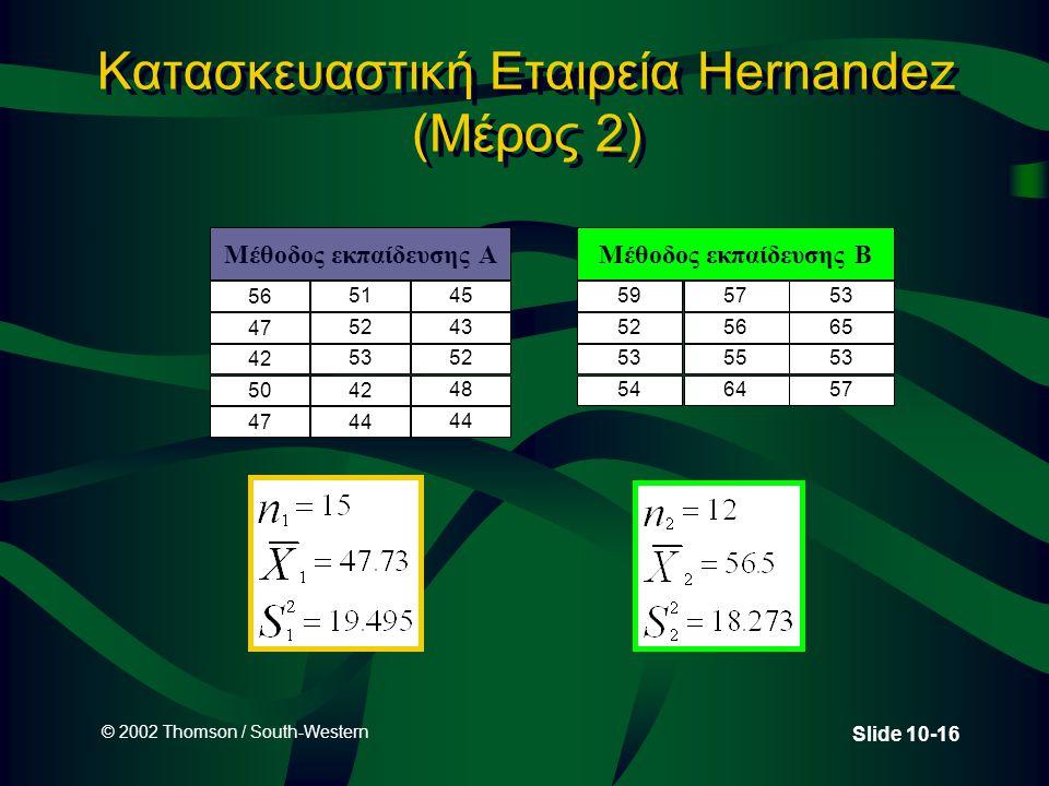 © 2002 Thomson / South-Western Slide 10-16 Κατασκευαστική Εταιρεία Hernandez (Μέρος 2) Μέθοδος εκπαίδευσης A 56 5145 47 5243 42 5352 5042 48 4744 Μέθοδος εκπαίδευσης B 59 52 53 54 57 56 55 64 53 65 53 57