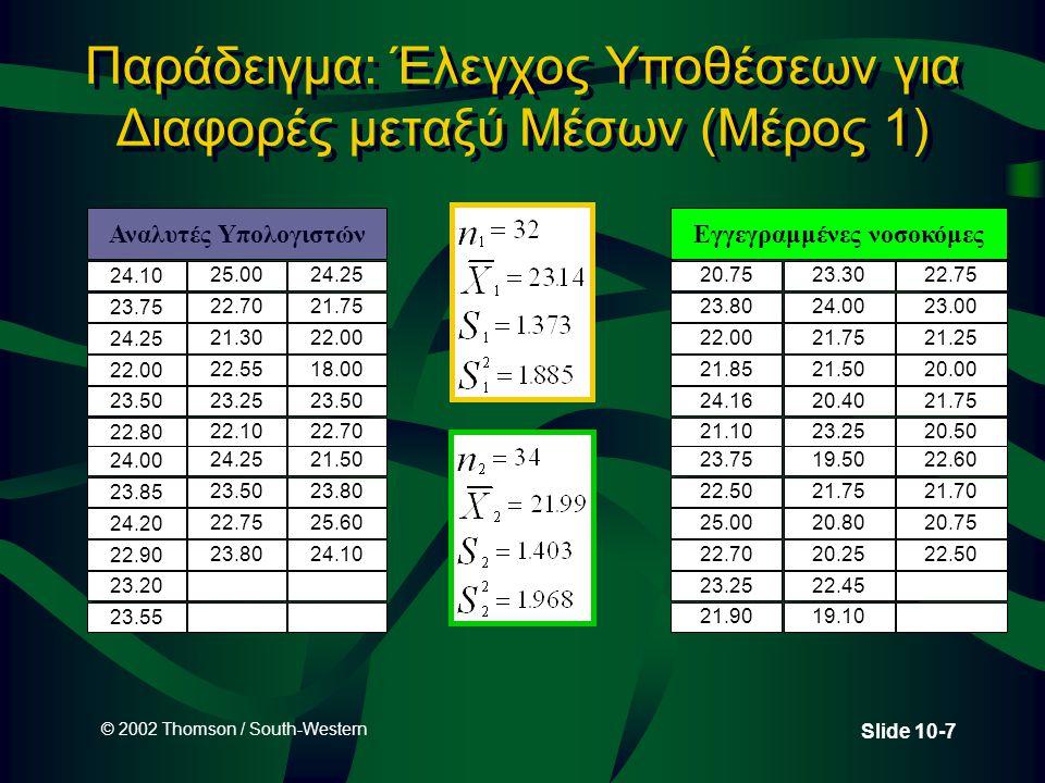 © 2002 Thomson / South-Western Slide 10-18 Εξαρτημένα Δείγματα Μετρήσεις πριν και μετά για το ίδιο άτομο Μελέτες πάνω σε δίδυμα Μελέτες πάνω σε συζύγους Άτομα 123456123456 Πριν 32 11 21 17 30 38 Μετά 39 15 35 13 41 39 Διαφορά -7 -4 -14 4 -11