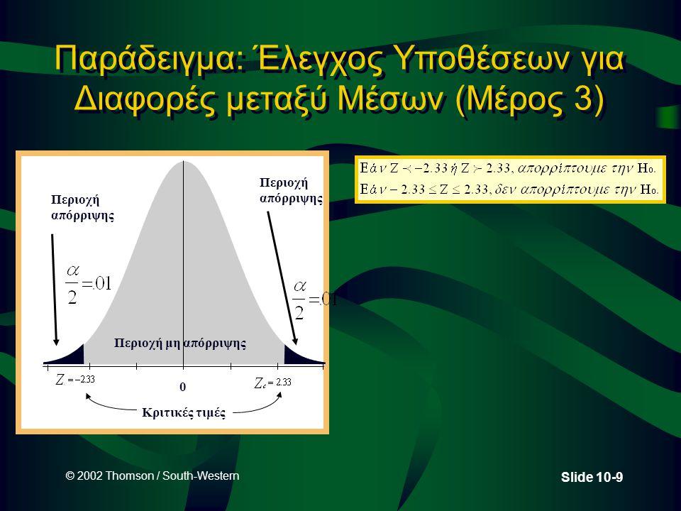 © 2002 Thomson / South-Western Slide 10-20 Δειγματοληπτική Κατανομή για διαφορές σε Δειγματικές Αναλογίες