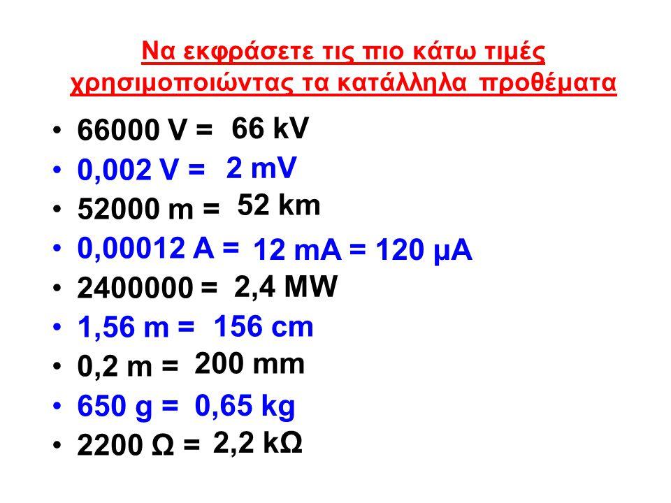 Να εκφράσετε τις πιο κάτω τιμές χρησιμοποιώντας τα κατάλληλα προθέματα 66000 V = 0,002 V = 52000 m = 0,00012 A = 2400000 = 1,56 m = 0,2 m = 650 g = 22