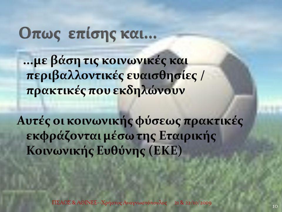 ...με βάση τις κοινωνικές και περιβαλλοντικές ευαισθησίες / πρακτικές που εκδηλώνουν Αυτές οι κοινωνικής φύσεως πρακτικές εκφράζονται μέσω της Εταιρικής Κοινωνικής Ευθύνης (ΕΚΕ) 21 & 22/10/2009 10 ΠΣΑΟΣ & ΑΘΙΝΕΕ--Χρήστος Αναγνωστόπουλος