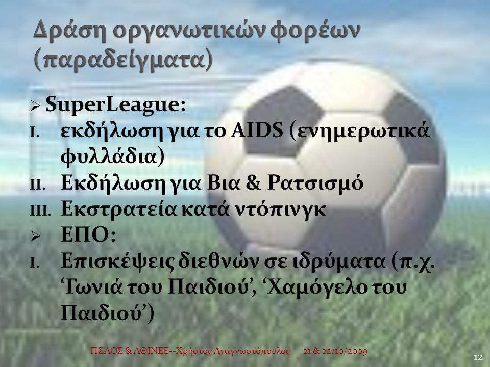  SuperLeague: I. εκδήλωση για το AIDS (ενημερωτικά φυλλάδια) II.