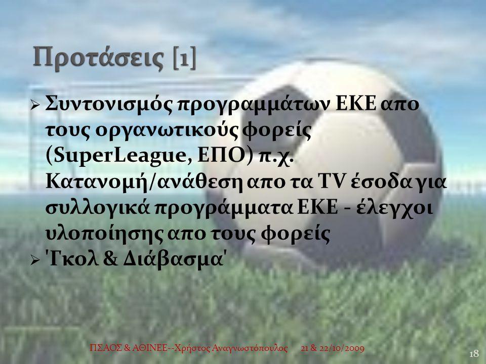  Συντονισμός προγραμμάτων ΕΚΕ απο τους οργανωτικούς φορείς (SuperLeague, ΕΠΟ) π.χ.