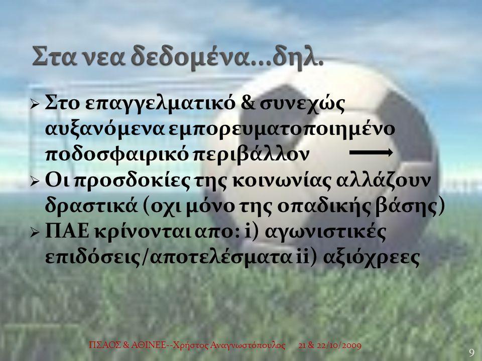  Στο επαγγελματικό & συνεχώς αυξανόμενα εμπορευματοποιημένο ποδοσφαιρικό περιβάλλον  Οι προσδοκίες της κοινωνίας αλλάζουν δραστικά (οχι μόνο της οπαδικής βάσης)  ΠΑΕ κρίνονται απο: i) αγωνιστικές επιδόσεις/αποτελέσματα ii) αξιόχρεες 21 & 22/10/2009 9 ΠΣΑΟΣ & ΑΘΙΝΕΕ--Χρήστος Αναγνωστόπουλος