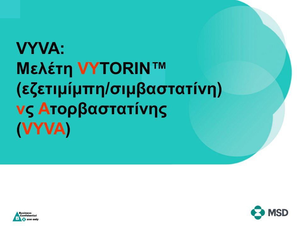 ► Σχεδιασμός –Πολυκεντρική, διπλή τυφλή, τυχαιοποιημένη, παράλληλων ομάδων, μελέτη 6 εβδομάδων ► Ομάδες θεραπείας –Εζετιμίμπη/σιμβαστατίνη 10/10, 10/20, 10/40, ή 10/80 mg άπαξ ημερησίως (n=951) –Ατορβαστατίνη 10, 20, 40, ή 80 mg άπαξ ημερησίως (n=951) ► Επιλεγμένα κριτήρια ένταξης –Ηλικία 18–79 έτη –LDL-C άνω των ορίων του NCEP ATP III (≥3.4 έως ≥4.9 mmol/L [130 έως 190 mg/dl]) –TG ≤3.95 mmol/L (≤350 mg/dl) Ballantyne CM et al Am Heart J 2005;149:464–473.