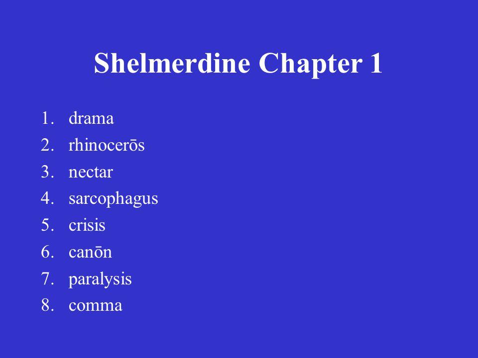 Shelmerdine Chapter 1 1.drama 2.rhinocerōs 3.nectar 4.sarcophagus 5.crisis 6.canōn 7.paralysis 8.comma 1.δρᾶμα 2.ῥινοκέρως 3.νέκταρ 4.σαρκοφάγος 5.κρίσις 6.κανών 7.παράλυσις 8.κόμμα