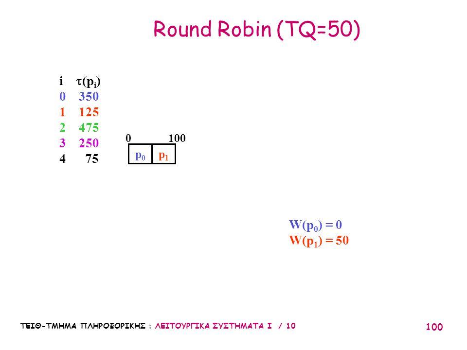 ΤΕΙΘ-ΤΜΗΜΑ ΠΛΗΡΟΦΟΡΙΚΗΣ : ΛΕΙΤΟΥΡΓΙΚΑ ΣΥΣΤΗΜΑΤΑ Ι / 10 100 Round Robin (TQ=50) p0p0 W(p 0 ) = 0 W(p 1 ) = 50 1000 p1p1 i  (p i ) 0 350 1 125 2 475 3