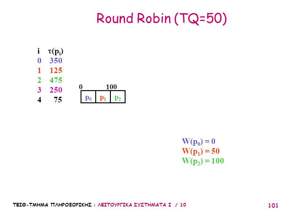 ΤΕΙΘ-ΤΜΗΜΑ ΠΛΗΡΟΦΟΡΙΚΗΣ : ΛΕΙΤΟΥΡΓΙΚΑ ΣΥΣΤΗΜΑΤΑ Ι / 10 101 Round Robin (TQ=50) p0p0 W(p 0 ) = 0 W(p 1 ) = 50 W(p 2 ) = 100 1000 p2p2 p1p1 i  (p i ) 0