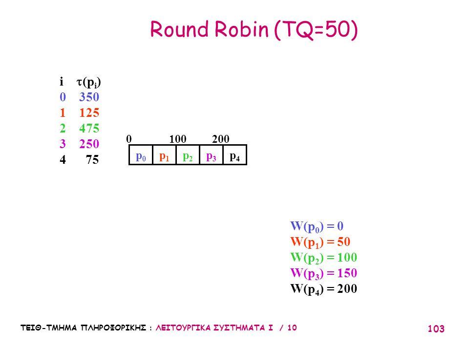 ΤΕΙΘ-ΤΜΗΜΑ ΠΛΗΡΟΦΟΡΙΚΗΣ : ΛΕΙΤΟΥΡΓΙΚΑ ΣΥΣΤΗΜΑΤΑ Ι / 10 103 Round Robin (TQ=50) W(p 0 ) = 0 W(p 1 ) = 50 W(p 2 ) = 100 W(p 3 ) = 150 W(p 4 ) = 200 2001