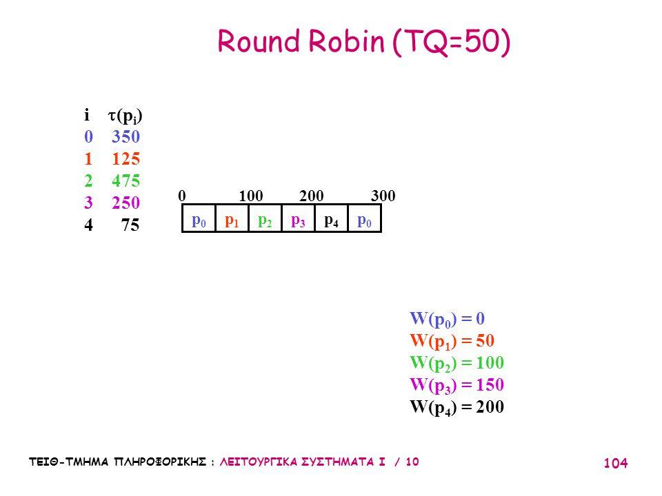 ΤΕΙΘ-ΤΜΗΜΑ ΠΛΗΡΟΦΟΡΙΚΗΣ : ΛΕΙΤΟΥΡΓΙΚΑ ΣΥΣΤΗΜΑΤΑ Ι / 10 104 Round Robin (TQ=50) W(p 0 ) = 0 W(p 1 ) = 50 W(p 2 ) = 100 W(p 3 ) = 150 W(p 4 ) = 200 3002