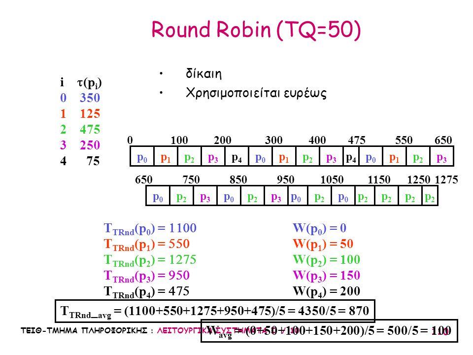 ΤΕΙΘ-ΤΜΗΜΑ ΠΛΗΡΟΦΟΡΙΚΗΣ : ΛΕΙΤΟΥΡΓΙΚΑ ΣΥΣΤΗΜΑΤΑ Ι / 10 110 Round Robin (TQ=50) W avg = (0+50+100+150+200)/5 = 500/5 = 100 T TRnd _ avg = (1100+550+127