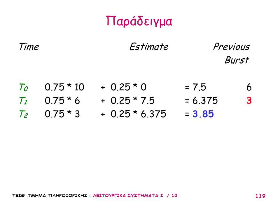 ΤΕΙΘ-ΤΜΗΜΑ ΠΛΗΡΟΦΟΡΙΚΗΣ : ΛΕΙΤΟΥΡΓΙΚΑ ΣΥΣΤΗΜΑΤΑ Ι / 10 119 Time EstimatePrevious Burst T 0 0.75 * 10 + 0.25 * 0 = 7.5 6 T 1 0.75 * 6 + 0.25 * 7.5 = 6.