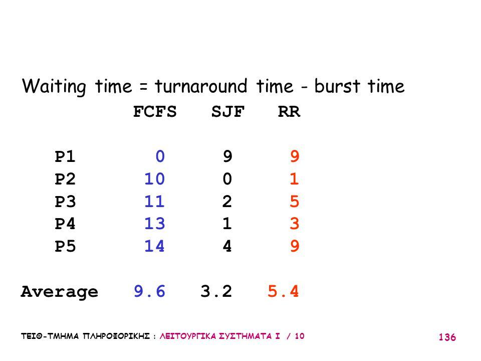 ΤΕΙΘ-ΤΜΗΜΑ ΠΛΗΡΟΦΟΡΙΚΗΣ : ΛΕΙΤΟΥΡΓΙΚΑ ΣΥΣΤΗΜΑΤΑ Ι / 10 136 Waiting time = turnaround time - burst time FCFS SJF RR P1 0 9 9 P2 10 0 1 P3 11 2 5 P4 13