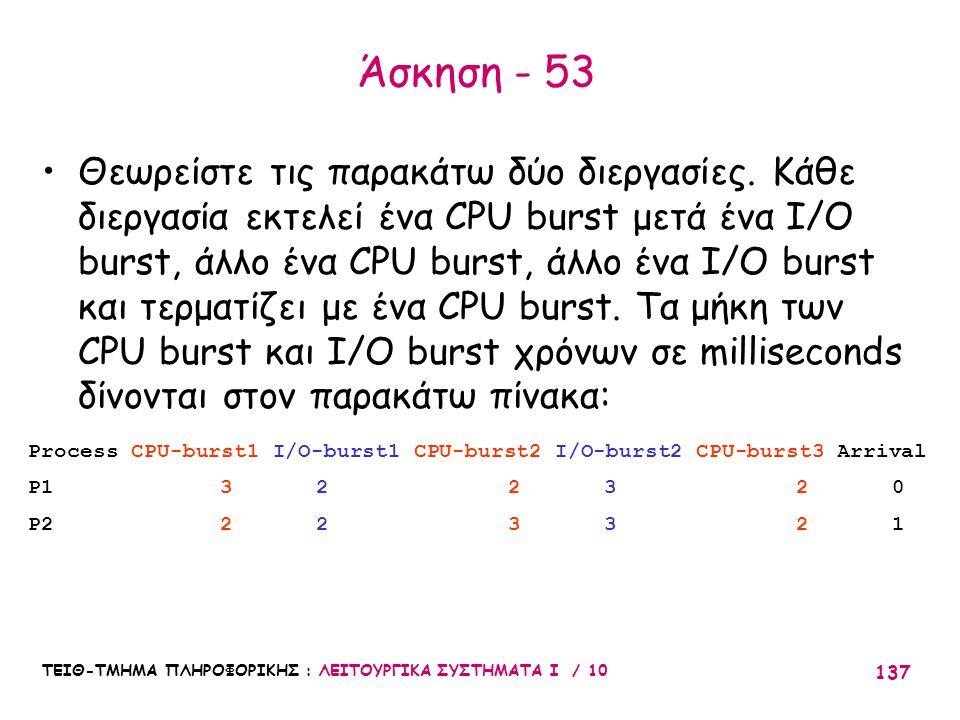 ΤΕΙΘ-ΤΜΗΜΑ ΠΛΗΡΟΦΟΡΙΚΗΣ : ΛΕΙΤΟΥΡΓΙΚΑ ΣΥΣΤΗΜΑΤΑ Ι / 10 137 Άσκηση - 53 Θεωρείστε τις παρακάτω δύο διεργασίες. Κάθε διεργασία εκτελεί ένα CPU burst μετ