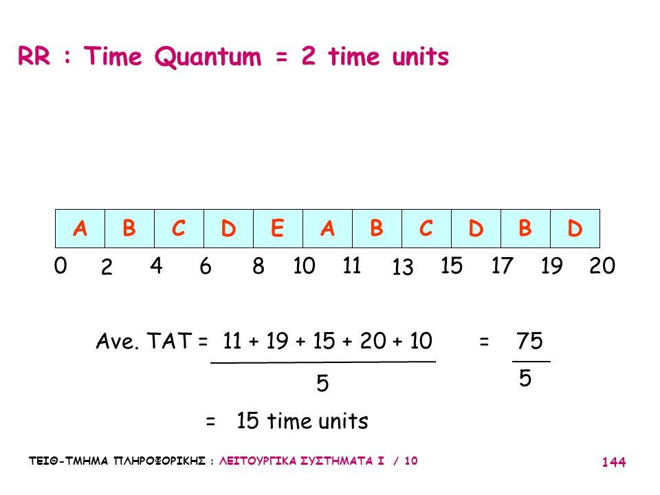 ΤΕΙΘ-ΤΜΗΜΑ ΠΛΗΡΟΦΟΡΙΚΗΣ : ΛΕΙΤΟΥΡΓΙΚΑ ΣΥΣΤΗΜΑΤΑ Ι / 10 144 RR : Time Quantum = 2 time units ABCDE 0 2 46810 Ave. TAT = 11 + 19 + 15 + 20 + 10 = 75 = 1