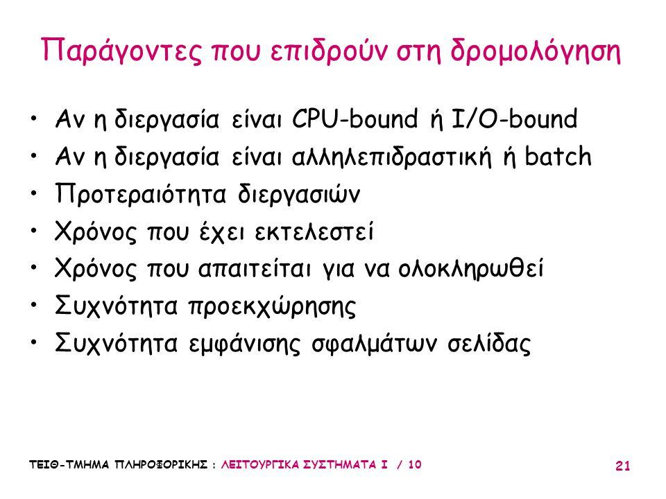 ΤΕΙΘ-ΤΜΗΜΑ ΠΛΗΡΟΦΟΡΙΚΗΣ : ΛΕΙΤΟΥΡΓΙΚΑ ΣΥΣΤΗΜΑΤΑ Ι / 10 21 Αν η διεργασία είναι CPU-bound ή I/O-bound Αν η διεργασία είναι αλληλεπιδραστική ή batch Προ