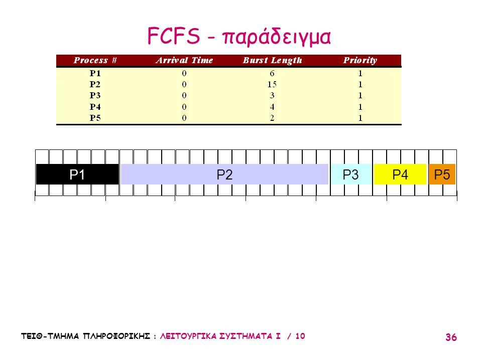 ΤΕΙΘ-ΤΜΗΜΑ ΠΛΗΡΟΦΟΡΙΚΗΣ : ΛΕΙΤΟΥΡΓΙΚΑ ΣΥΣΤΗΜΑΤΑ Ι / 10 36 010203051525 P2P3P4P5P1 FCFS - παράδειγμα