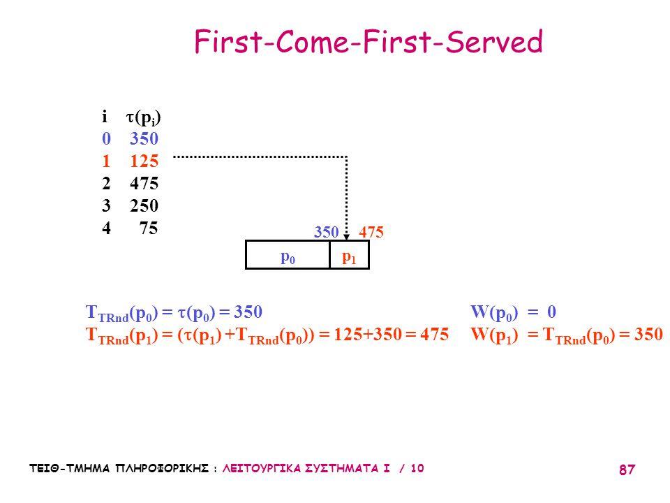 ΤΕΙΘ-ΤΜΗΜΑ ΠΛΗΡΟΦΟΡΙΚΗΣ : ΛΕΙΤΟΥΡΓΙΚΑ ΣΥΣΤΗΜΑΤΑ Ι / 10 87 First-Come-First-Served i  (p i ) 0 350 1 125 2 475 3 250 4 75 p0p0 p1p1 T TRnd (p 0 ) = 