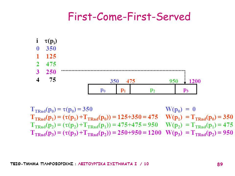 ΤΕΙΘ-ΤΜΗΜΑ ΠΛΗΡΟΦΟΡΙΚΗΣ : ΛΕΙΤΟΥΡΓΙΚΑ ΣΥΣΤΗΜΑΤΑ Ι / 10 89 First-Come-First-Served p1p1 p2p2 p3p3 T TRnd (p 0 ) =  (p 0 ) = 350 T TRnd (p 1 ) = (  (p