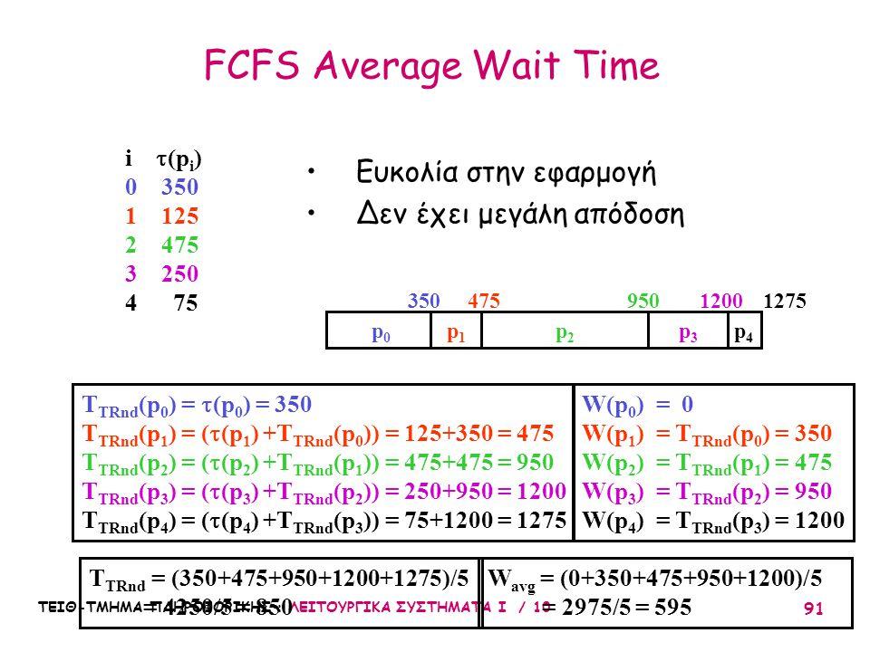 ΤΕΙΘ-ΤΜΗΜΑ ΠΛΗΡΟΦΟΡΙΚΗΣ : ΛΕΙΤΟΥΡΓΙΚΑ ΣΥΣΤΗΜΑΤΑ Ι / 10 91 FCFS Average Wait Time W avg = (0+350+475+950+1200)/5 = 2975/5 = 595 Ευκολία στην εφαρμογή Δ