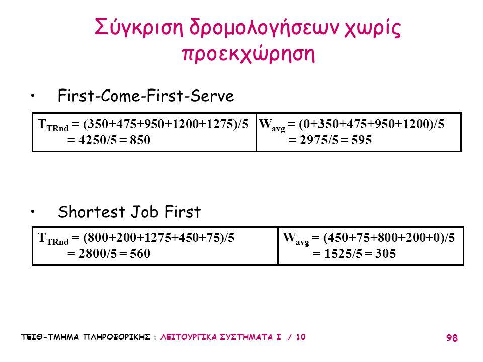 ΤΕΙΘ-ΤΜΗΜΑ ΠΛΗΡΟΦΟΡΙΚΗΣ : ΛΕΙΤΟΥΡΓΙΚΑ ΣΥΣΤΗΜΑΤΑ Ι / 10 98 Σύγκριση δρομολογήσεων χωρίς προεκχώρηση First-Come-First-Serve Shortest Job First W avg = (