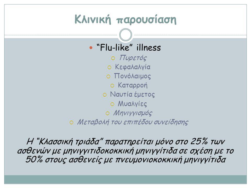 """Κλινική παρουσίαση """"Flu-like"""" illness ΠΠυρετός ΚΚεφαλαλγία ΠΠονόλαιμος ΚΚαταρροή ΝΝαυτία έμετος ΜΜυαλγίες ΜΜηνιγγισμός ΜΜεταβολή του ε"""
