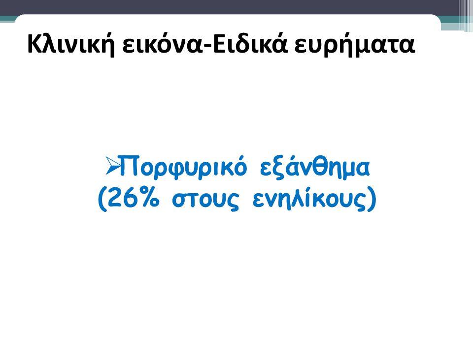  Πορφυρικό εξάνθημα (26% στους ενηλίκους)