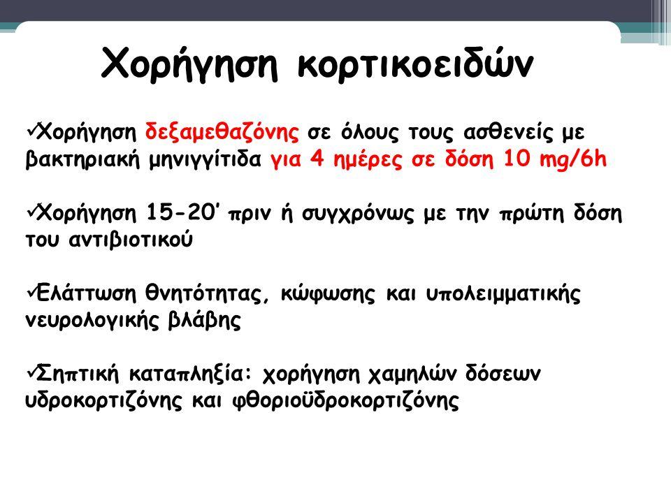 Χορήγηση δεξαμεθαζόνης σε όλους τους ασθενείς με βακτηριακή μηνιγγίτιδα για 4 ημέρες σε δόση 10 mg/6h Χορήγηση 15-20' πριν ή συγχρόνως με την πρώτη δό