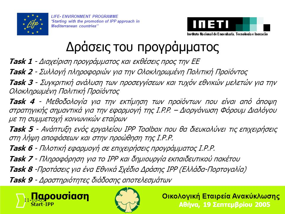 11-10-057 LIFE- ENVIRONMENT PROGRAMME 'Starting with the promotion of IPP approach in Mediterranean countries'' Αθήνα, 19 Σεπτεμβρίου 2005 Παρουσίαση Start-IPP Οικολογική Εταιρεία Ανακύκλωσης 11-10-05 Εναρκτήρια συνάντηση Νοέμβριος 2004, Λισσαβόνα Δράση 2 Δημιουργία βάσης δεδομένων με κοινωνικούς εταίρους Ιστοσελίδα (www.startipp.gr) Γραμμή πληροφόρησης γιαIPP Δημιουργία ενός ηλεκτρονικού δικτύου για το IPP Έκδοση1 ου e-newsletter 2 η Συνάντηση εταίρων προγράμματος και διαμόρφωση του ερωτηματολογίου καθώς και του σχεδίου της ανάλυσης, Κως, Ιούνιος 2005: Δράση 3 Ανασκόπηση σχετικής βιβλιογραφίας και αναφορών Καλές πρακτικές σχετικά με Ι.Ρ.Ρ.