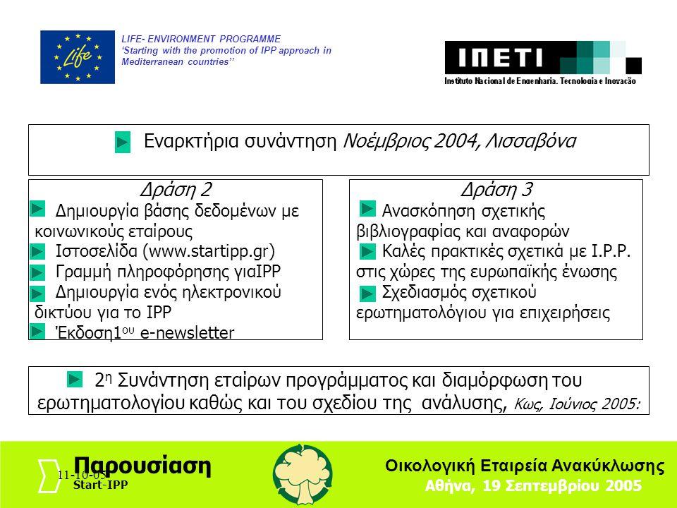 11-10-058 LIFE- ENVIRONMENT PROGRAMME 'Starting with the promotion of IPP approach in Mediterranean countries'' Αθήνα, 19 Σεπτεμβρίου 2005 Παρουσίαση Start-IPP Οικολογική Εταιρεία Ανακύκλωσης 11-10-05 Συνάντηση εταίρων, Mάρτιος 2006: Συζήτηση του Μοντέλου (PIM Model) που θα διευκολύνει τον εντοπισμό των σημαντικών προϊόντων για IPP καθώς και του εργαλείου ΙΡΡ Toolbox που θα διευκολύνει εφαρμογή ΙΡΡ σε συγκεκριμένα προϊόντα Δράση 3 Ανάλυση των εθνικών πολιτικών και στρατηγικών Ι.Ρ.Ρ.