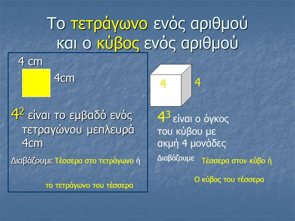 Το τετράγωνο ενός αριθμού και ο κύβος ενός αριθμού 4 cm 4 cm 4 2 είναι το εμβαδό ενός τετραγώνου μεπλευρά 4cm Διαβάζουμε Τέσσερα στο τετράγωνο ή το τετράγωνο του τέσσερα 4 4 4 3 είναι ο όγκος του κύβου με ακμή 4 μονάδες Διαβάζουμε Τέσσερα στον κύβο ή Ο κύβος του τέσσερα