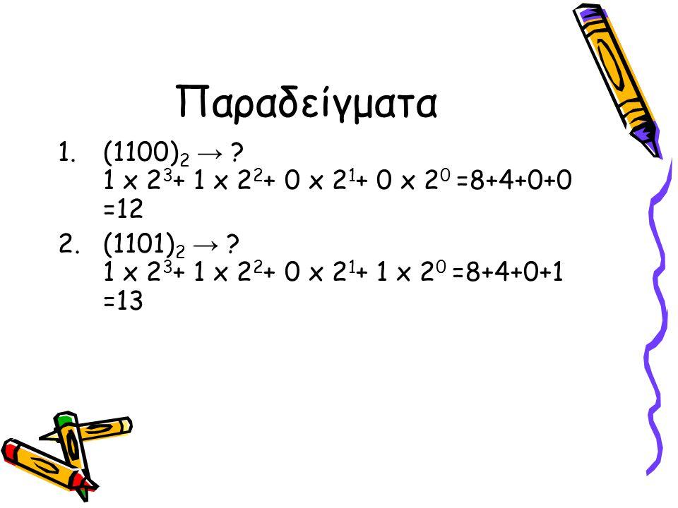 Παραδείγματα 1.(1100) 2 → ? 1 x 2 3 + 1 x 2 2 + 0 x 2 1 + 0 x 2 0 =8+4+0+0 =12 2.(1101) 2 → ? 1 x 2 3 + 1 x 2 2 + 0 x 2 1 + 1 x 2 0 =8+4+0+1 =13