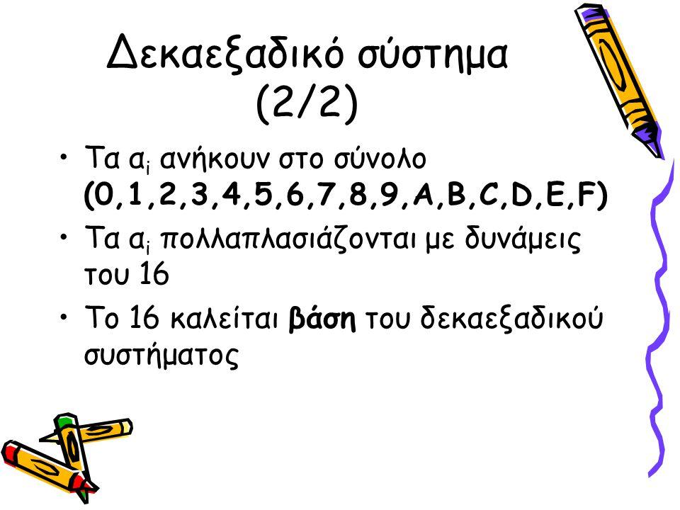 Δεκαεξαδικό σύστημα (2/2) Τα α i ανήκουν στο σύνολο (0,1,2,3,4,5,6,7,8,9,A,B,C,D,E,F) Τα α i πολλαπλασιάζονται με δυνάμεις του 16 Το 16 καλείται βάση