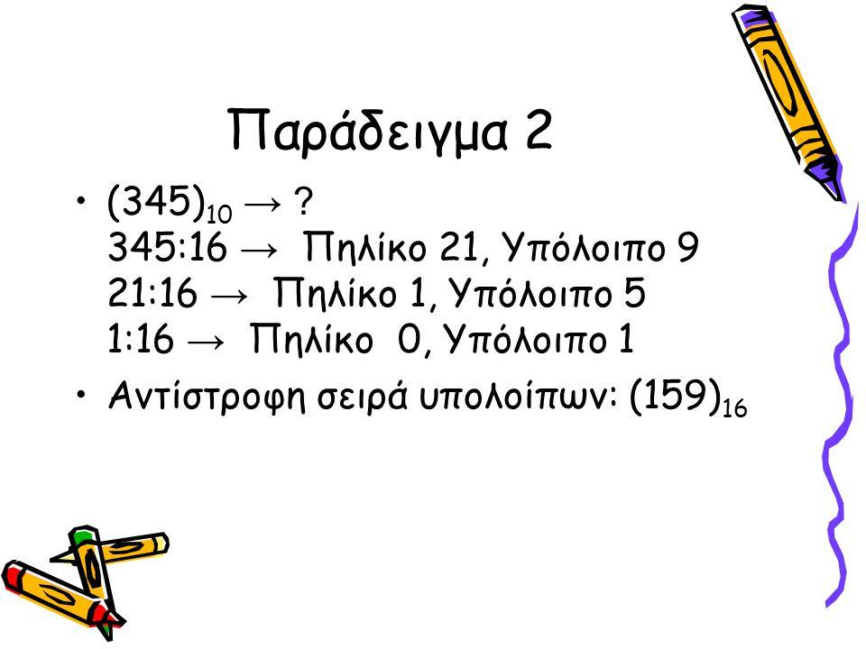 Παράδειγμα 2 (345) 10 → ? 345:16 → Πηλίκο 21, Υπόλοιπο 9 21:16 → Πηλίκο 1, Υπόλοιπο 5 1:16 → Πηλίκο 0, Υπόλοιπο 1 Αντίστροφη σειρά υπολοίπων: (159) 16