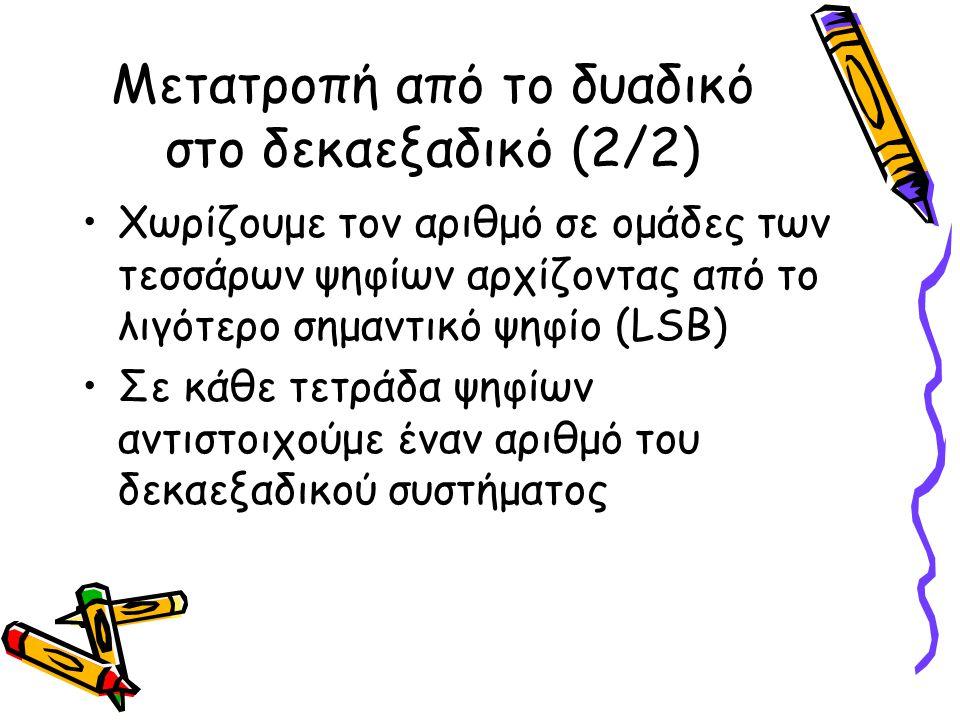 Μετατροπή από το δυαδικό στο δεκαεξαδικό (2/2) Χωρίζουμε τον αριθμό σε ομάδες των τεσσάρων ψηφίων αρχίζοντας από το λιγότερο σημαντικό ψηφίο (LSB) Σε